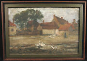 Antique Stacy Tolman Oil Painting Etaples France Town Scene Providence Ri Risd