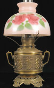 Antique Kerosene Brass Knight Crown Painted Globe Oil Lamp Gone With The Wind