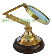 Vintage Magnifying Glass On Wood Stand 4 Inch Adjustable Desk Stand Accessories