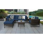 Barcelona 8 Piece Wicker Patio Furniture Set 08m In Brown And Navy