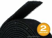 2 Pack Sticky Tape Adhesive Hook Loop Closure 15and039x3/4and039and039 Black Waterproof