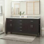 Greeley Contemporary 72 Wood Double Sink Bathroom Vanity With Marble Counter To
