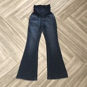 A Pea In The Pod Womenand039s Solid Blue Maternity Flare Jeans Size Small Over Belly