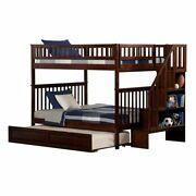 Atlantic Furniture Woodland Full Over Full Staircase Trundle Bunk Bed