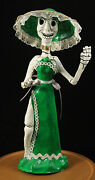 Mexican Day Of The Dead Catrina Doll Paper Mache Hand Made/painted Green Tall