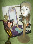 Fab-ulous French Antique, Pierrot, Boudoir Doll, Art Deco Hat Stand Bed Doll