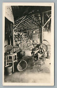 Wicker Furniture Showroom Rppc Antique Baskets Chair Advertising Photo 1910s