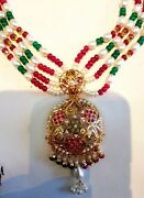 Real Pearl Ruby Emerald Necklace 22 K Gold Pendant Set Nice Women Jewelry