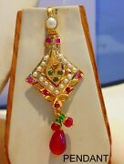 22 K Yellow Gold Gold Pendant Daily Use Square Design With Earring Pair Set
