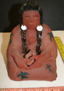 Glen-lafontaine Native American Indian Pottery Figure Red Clay Art Bag Keeper