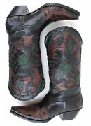 Liberty Boot Co Women Cowboy Western Inlay Rough Cut Leather Floral Snip Toe 7 B