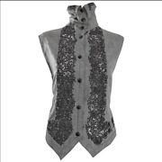 Gianni Versace Black And White Houndstooth Plaid Embroidered Vest Top Size 4