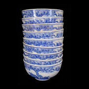 A Set Of Nine Blue And White Chinese Export-ware Ceramic Lidded Rice Bowls X6722
