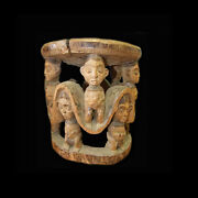 A Cameroon Grasslands Stool With Figural Carvings. African Tribal Art - T750