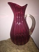 Vintage Tall Cranberry Glass Pitcher Ribbed Pattern Clear Glass Handle