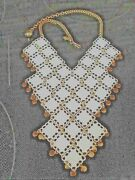 Vintage Signed Vendome Gold Tone And White Enamel Etruscan Statement Necklace