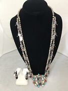 Zuni Sterling Silver Humming Bird Necklace And Earring By Edward Leekity