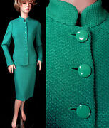 1890 Nwt St John Verde Sheen Dash Knit Fitted 6 Buttons Skirt Suit Sz 8 Sale