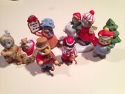 6 Kitty Cucumber Rare Figurines By Schmid Christmas Trees For Sale
