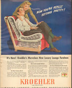 1946 Vintage Ad For Kroehler Furniture`retro Red Chair Art Couple    011919