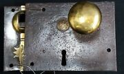 Authentic Carpenter And Co. Early 1800s Cast Iron And Brass Metal Rim Lock Set