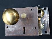 Authentic Carpenter Early 1800s Cast Iron And Brass Metal Rim Lock Set