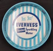 Evervess Bonded Sparkling Water Blue And White Round Tin Serving Tray Pepsi Cola