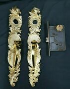 Pair Of Large Solid Brass Ornate Art Nouveau Door Handle Plates With Rim Lock