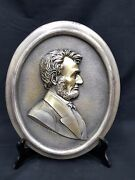 Silver Bronze Oval Abraham Lincoln Embossed Plaque