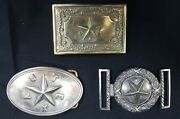 Texas Civil War Belt Buckles And Avc With Star Belt Buckle Set Of 3 Reproductions