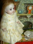 Charming 4 German Wire-jointed, Antique All Bisque Dollhouse Doll W/glass Eyes