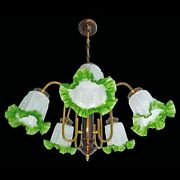 French Art Deco/nouveau Chandelier Brass And Copper And Frosted Green Glass Shades