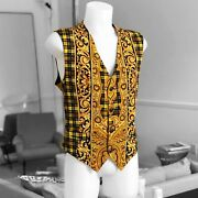 V2 By Versace Cotton Vest Baroque And Tartan Print Size It 50