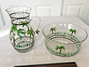 Handpainted Glass 10 In. Pitcher And Bowl Set-palm Trees And Black Accents