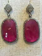New J/hadley Pink Rubellite And Diamond Earring Sterling And 18k Gold Dangle