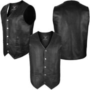 4fitandtrade Menand039s Motorcycle Vest Genuine Cowhide Leather Black New Style Vest