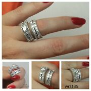 Antique Style 3.7c Scalloped Sterling Silver 925 Engagement And Wedding Rings Set