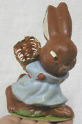 Vintage Composition Easter Bunny With Woven Basket Candy Container West Germany