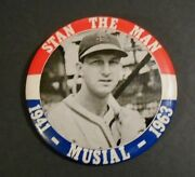1941-63 Stan Musial Retirement Pin St. Louis Cardinals Real One 3 1/2 Pinback