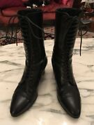 Victorian Granny Boots Black Leather Reenactment Italy Size 8.5