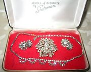 Sherman Jewels Of Elegance-signed Necklace, Brooch And Earrings In Clear Ice