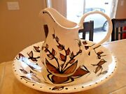 Pitcher And Wash Basin Set Signed Jjw Handpainted Tapa Pottery Blk/brwn And White