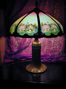 Huge Antique C1920 Pittsburgh Reverse Painted Lamp8 Panel Chipped Ice Shade