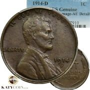 Nice 1914-d Pcgs Au Lincoln Wheat Cent Penny 1c Us Coin Item 20076a