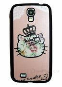Cute Hello Kitty Vintage Floral Soft Case For Samsung Galaxy S4 Pink And Black