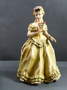Vtg Beautiful Lefton China Hand Painted Porcelain Figurine Young Lady With Fan