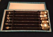 6 Japanese Sterling Silver 950 Ice Tea Spoons In Box