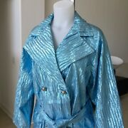 Gianni Versace Couture Silk Jacket In Metallic Light Blue From Fw 1994/95