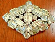 Rare Weiss Signed Magnificent Vintage 40and039s Deco Clear Rhinestone Brooch