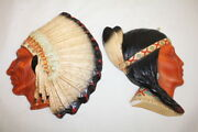 Pair Of Vintage 1941 Orn-a-craft Chalkware American Indian Wall Plaques 357